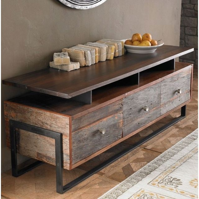 Amazing Famous Reclaimed Wood And Metal TV Stands Regarding Best 10 Reclaimed Wood Tv Stand Ideas On Pinterest Rustic Wood (Image 3 of 50)
