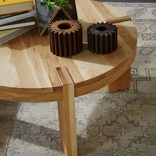 Amazing Famous Round Oak Coffee Tables Pertaining To Boerum Round Coffee Table Solid Oak West Elm (View 40 of 40)