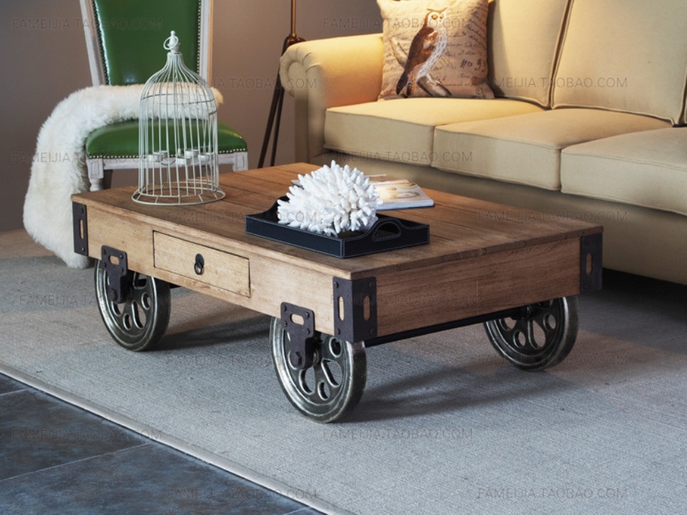 Featured Image of Rustic Coffee Table With Wheels