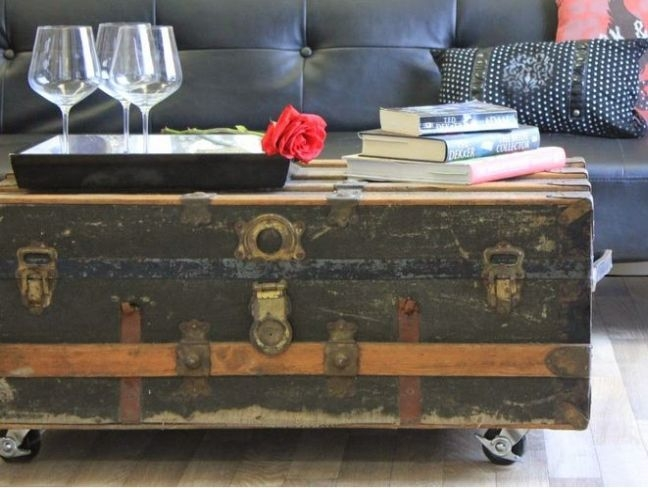 Amazing Famous Steamer Trunk Stainless Steel Coffee Tables Intended For Best 25 Trunk Coffee Tables Ideas On Pinterest Wood Stumps (Image 1 of 50)