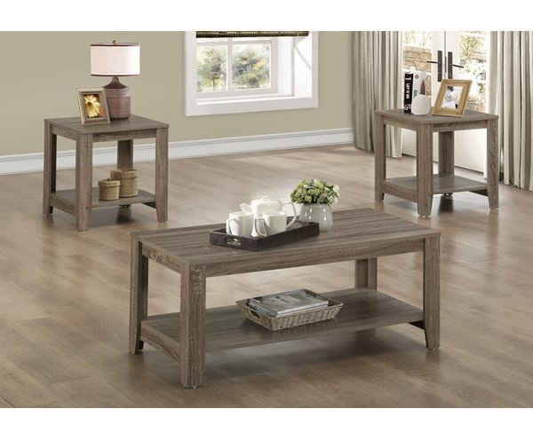 Amazing Famous Wayfair Coffee Table Sets Within Living Room Table Set Sauder Beginnings 3 Pack Table Set Cinnamon (Image 2 of 50)