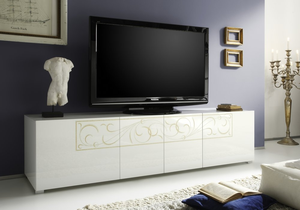 Amazing Famous White High Gloss TV Stands Pertaining To Padua Tv Stand White High Gloss Lacquer Tv Media Units (Image 5 of 50)