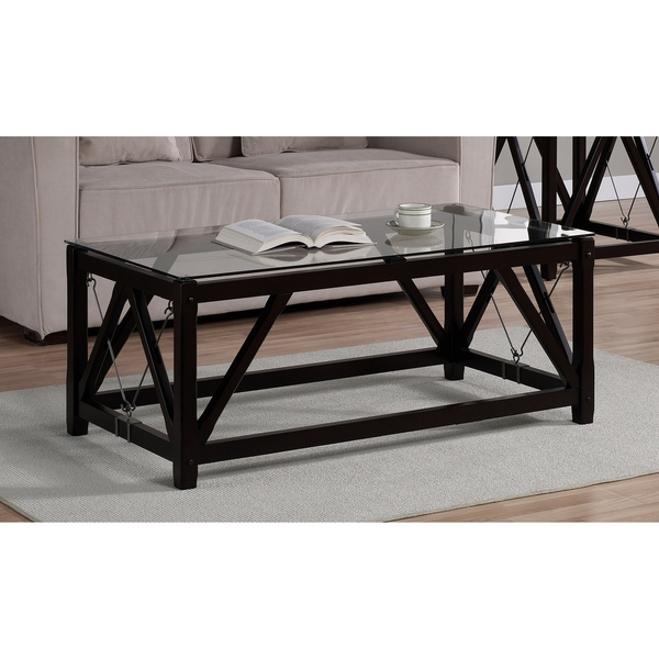 Amazing Fashionable Black Wood Coffee Tables With Black Glass Coffee Table (Image 3 of 40)
