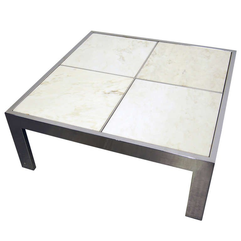 Amazing Fashionable Chrome Coffee Tables For Pace Collection Chrome And Marble Tile Coffee Table For Sale At (Image 3 of 50)
