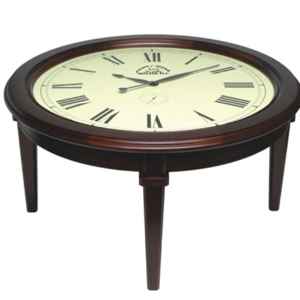 Amazing Fashionable Coffee Tables With Clock Top Regarding Clock Coffee Table Square Coffee Table For Glass Top Coffee Table (Image 2 of 40)