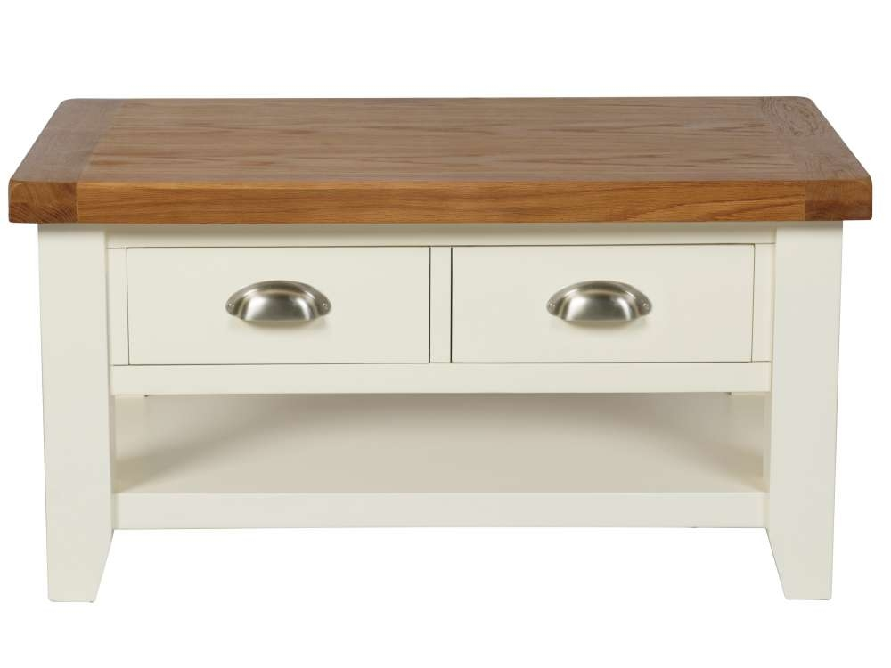 Amazing Fashionable Cream And Oak Coffee Tables Pertaining To Country Oak Cream Painted Coffee Table With Drawers (Image 2 of 40)