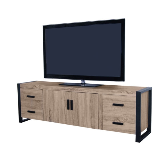 Amazing Fashionable Double TV Stands In Furniture Brown Wooden Tv Stands With Double Storage Glass Doors (Image 2 of 50)