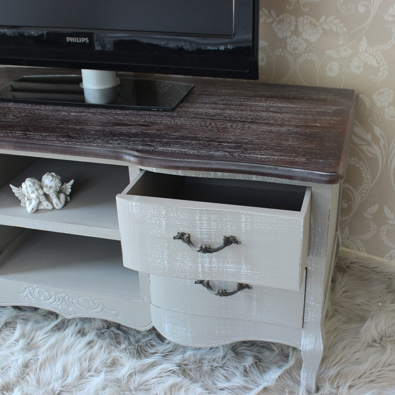 Amazing Fashionable French TV Cabinets Pertaining To Grey Tv Unit Melody Maison (Image 2 of 50)