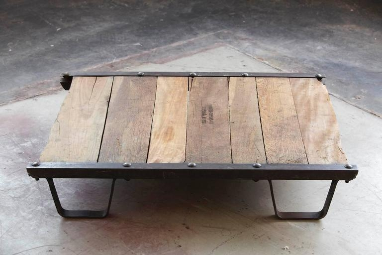 Amazing Fashionable Low Industrial Coffee Tables Pertaining To Vintage Industrial Steel And Wood Skid Platform Low Coffee Table (Image 1 of 40)