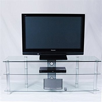 Amazing Fashionable Modern TV Stands For Flat Screens Regarding Amazon 60 Wide Modern Clear Glass Flat Screen Tv Stand (Image 2 of 50)
