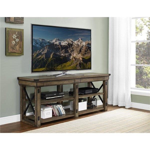Amazing Fashionable Oak Veneer TV Stands Within Laurel Foundry Modern Farmhouse Glane Wildwood Wood Veneer 65 Tv (Image 3 of 50)