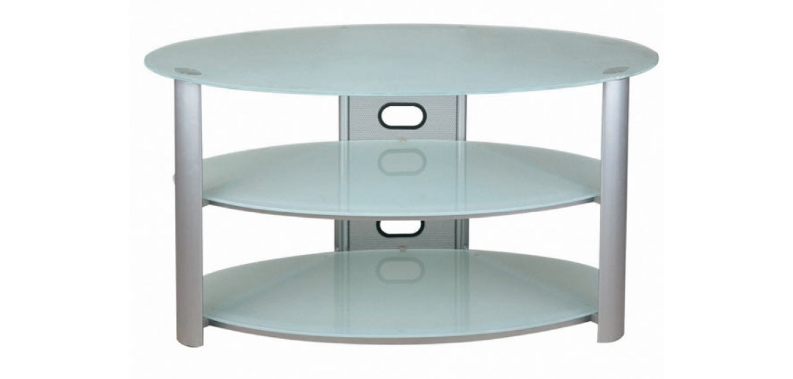 Amazing Fashionable Oval Glass TV Stands Pertaining To Oval White Frosted Glass Tv Stand V Hold 8 New Spec (Image 1 of 50)