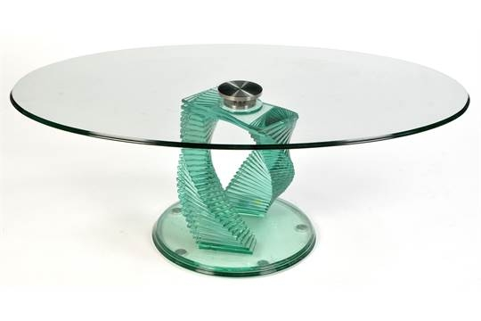 Amazing Fashionable Spiral Glass Coffee Table Throughout A Modern Glass Coffee Table The Oval Plated Glass Top Raised On (Image 2 of 50)