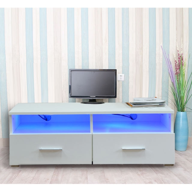 Amazing Fashionable TV Stands 100cm Regarding Panana 100cm High Gloss White Tv Stand Unit Cabinet 2 Drawers Led (Image 2 of 50)