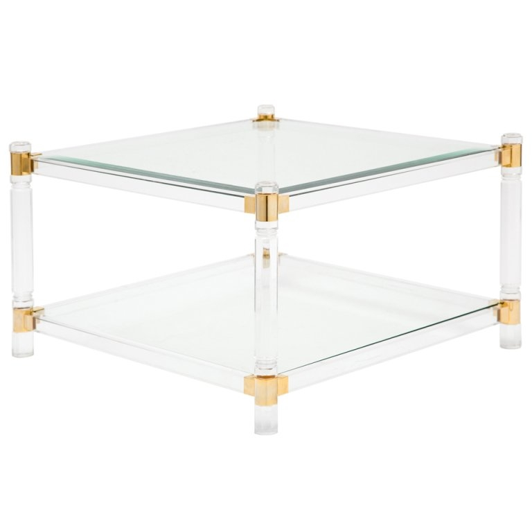 Amazing Favorite Antique Brass Glass Coffee Tables In French Vintage Lucite Brass And Glass Coffee Table At 1stdibs (Image 2 of 50)