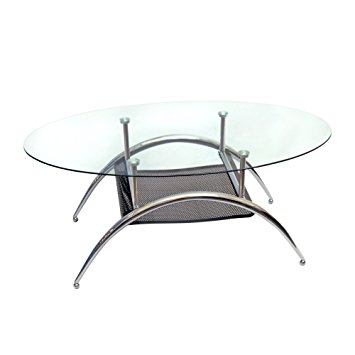 Amazing Favorite Curved Glass Coffee Tables With Regard To Amazon 38 Modern Glass Top Coffee Table Curved Legs (Image 1 of 50)