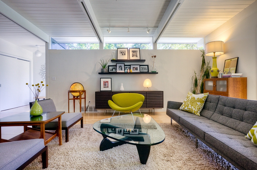 Amazing Favorite Floating Glass Coffee Tables For Florence Knoll Sofa Living Room Midcentury With Exposed Beams (Image 2 of 50)
