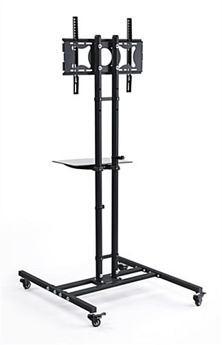 Amazing Favorite Lockable TV Stands Pertaining To Mobile Tv Stand Black Floor Display With Shelf (Image 3 of 50)