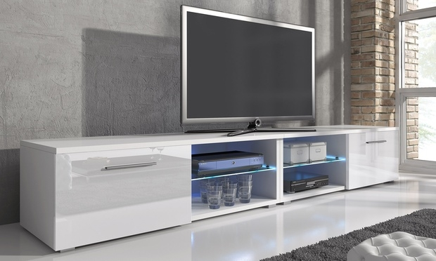 Amazing Favorite Long White TV Cabinets Regarding White Tv Stand And Long Tv Stand Also Modern Tv Stands Made Of (Image 2 of 50)