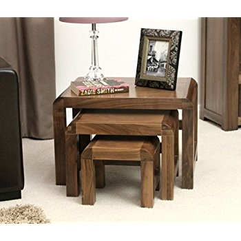 Amazing Favorite Nest Coffee Tables Intended For Shiro Walnut Nest Of Three Coffee Tables Amazoncouk Kitchen Home (Image 1 of 50)