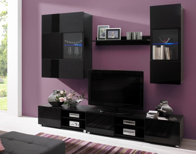 Amazing Favorite Under TV Cabinets For Furniture Black Glossy Wooden Tv Cabinets With Doors Under Black (Image 2 of 50)