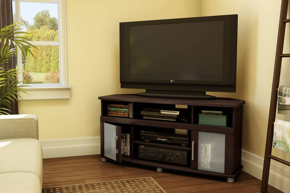 Amazing Favorite White Wood Corner TV Stands Intended For Tv Stands Inspiring Corner Television Stands 2017 Collection (Image 1 of 50)