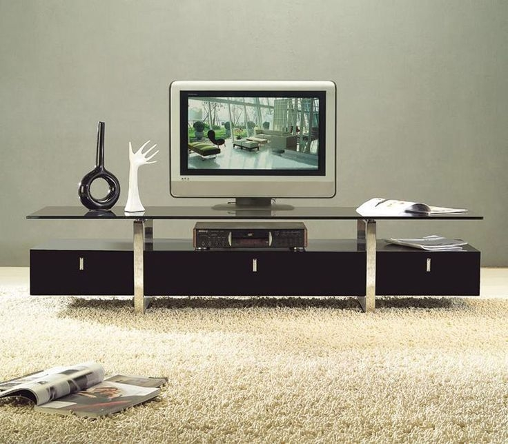 Amazing Favorite Wood TV Stands With Glass Top Throughout Clear Lined Design Modern Brown Color Tv Stand With Glass Top (Image 4 of 50)