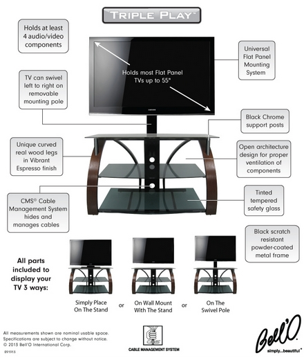 Amazing High Quality Bell'O Triple Play TV Stands Within 8  (Image 2 of 50)