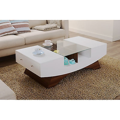 Amazing High Quality Coffee Tables With Glass Top Display Drawer Within Modern Coffee Table Wood 4 Display Shelves Glass Top Side Storage (Image 3 of 40)