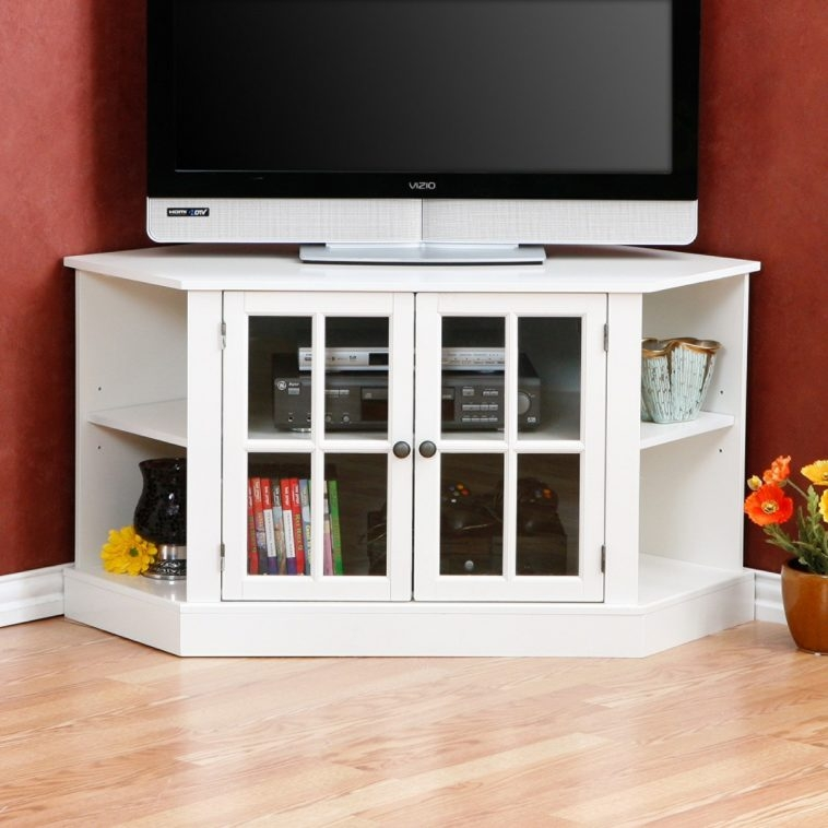 Amazing High Quality Double TV Stands Regarding Furniture White Wooden Corner Tv Stand With Double Wooden Shelf (Image 3 of 50)