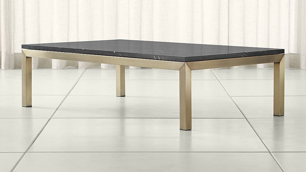 Amazing High Quality Large Rectangular Coffee Tables Intended For Parsons Black Marble Top Brass Base 60×36 Large Rectangular (Image 2 of 40)