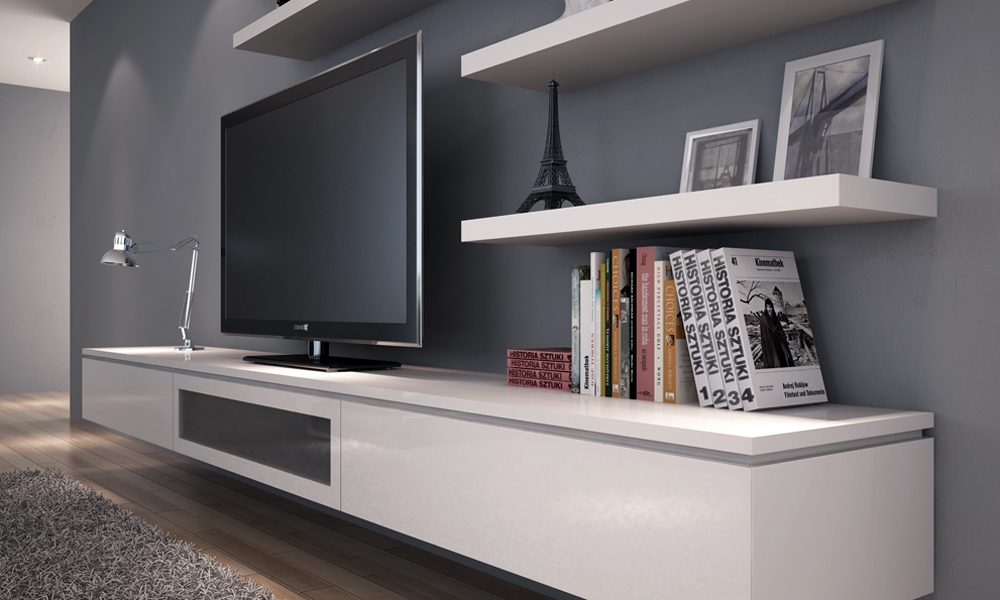 Amazing High Quality Long White TV Cabinets Intended For Floating Media Cabinet Floating Media Cabinet Bathroom With Wall (Image 3 of 50)
