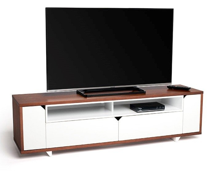 Amazing High Quality Long White TV Cabinets Pertaining To Sk160wswt Stark 160cm Wide Walnut And White Tv Cabinet  (Image 4 of 50)