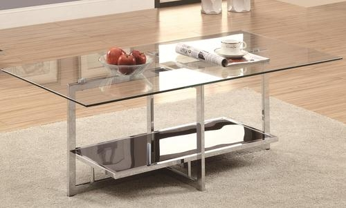 Amazing High Quality Rectangle Glass Chrome Coffee Tables Within Coaster Occasional Group Chrome Coffee Table With Clear Glass Top (Image 2 of 50)