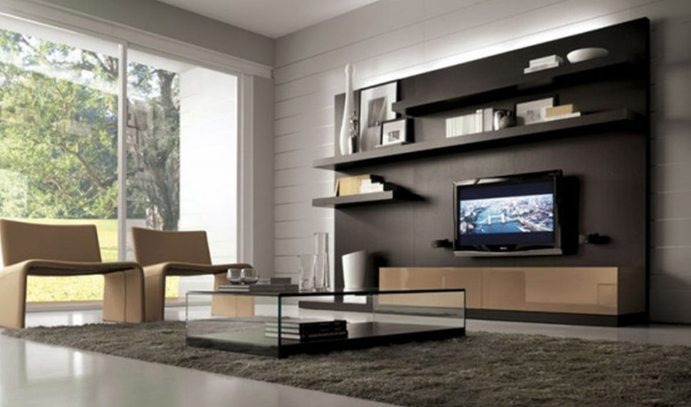 Amazing High Quality Wall Display Units & TV Cabinets In Living Room Beautiful White Black Glass Wood Modern Design (Image 4 of 50)