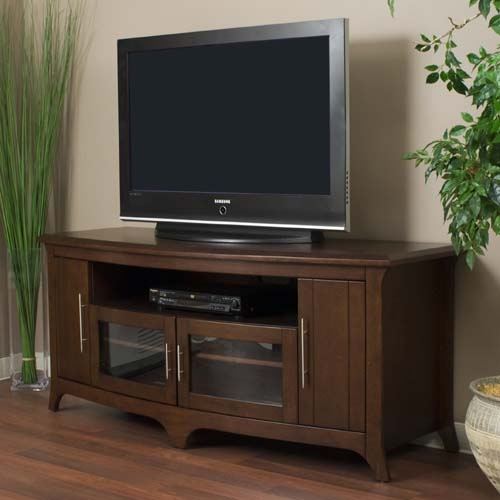 Amazing High Quality Wooden TV Stands For Flat Screens Pertaining To Tech Craft Veneto Series Walnut Wood Tv Stand For 48 60 Inch (Image 4 of 50)