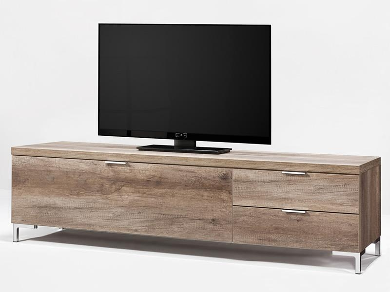 Amazing Latest Contemporary TV Cabinets For Flat Screens Intended For Contemporary Zyra Tv Cabinet With 2 Wild Oak Wood Effect Drawers (Image 5 of 50)