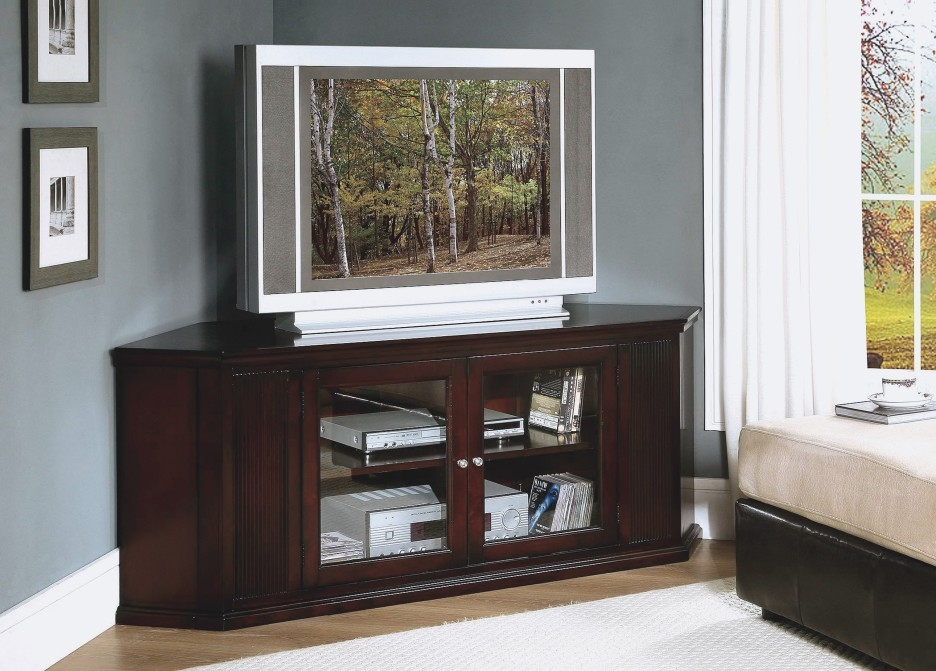 Amazing Latest Corner TV Stands For Flat Screen With Corner Dark Brown Wooden Tv Stand With Double Glass Doors Storage (Image 2 of 50)