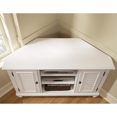 Amazing Latest Corner TV Stands With Drawers Pertaining To Bermuda Corner Tv Stand White 6621171 Hsn (Image 4 of 50)