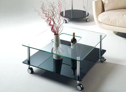 Amazing Latest Glass Coffee Tables With Casters With Regard To Glass Coffee Table With Wheels Jericho Mafjar Project (Image 2 of 50)