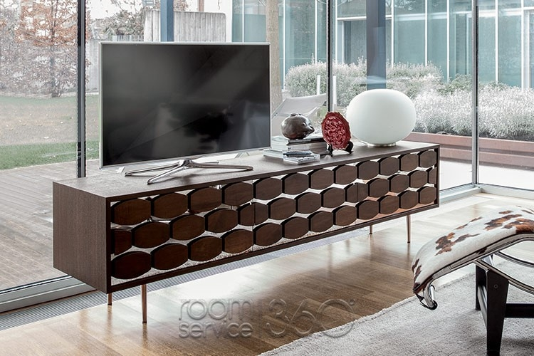 Amazing Latest Honey Oak TV Stands Regarding Honey Modern Tv Stand Tonin Casa Made In Italy (Image 5 of 50)