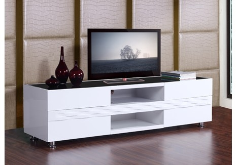 Amazing Latest Modern White TV Stands Within B Modern Publisher 708 High Gloss White Tv Stand Bm 803 Wht (Image 2 of 50)