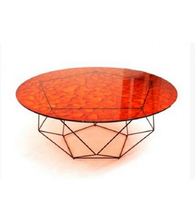 Amazing Latest Red Round Coffee Tables Throughout Chili Round Glass Coffee Table (View 36 of 50)