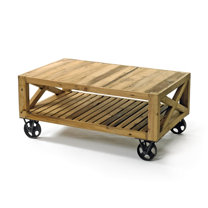 Amazing Latest Rustic Coffee Table With Wheels With Regard To Beautiful Coffee Table Wheels (Image 4 of 50)