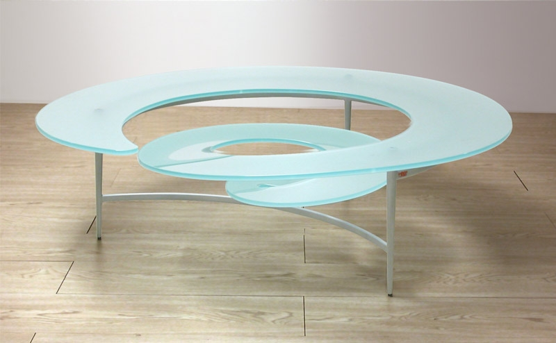 Amazing Latest Spiral Glass Coffee Table Pertaining To Coffee Table Spiral Glass Coffee Table The Top Features A Grid (Image 5 of 50)