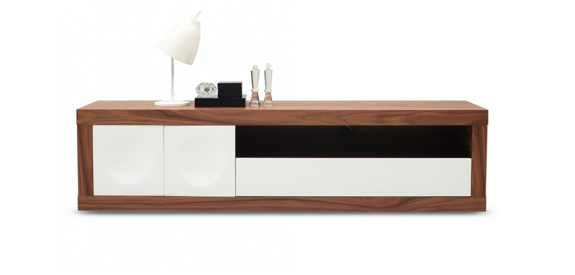 Amazing Latest White Contemporary TV Stands Intended For Prato Tv Stand In Walnut Wood And White Finish Jm (Image 4 of 50)