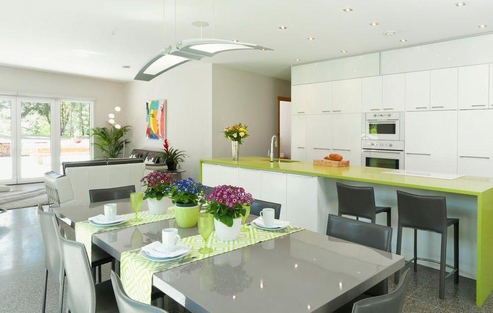 Amazing Led Lights In The Kitchen Design With Glass Countertop In Dining Tables With Led Lights (Image 4 of 20)