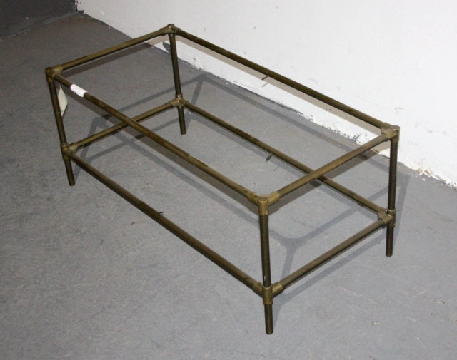 Amazing New Antique Brass Glass Coffee Tables Pertaining To Mid Century Modern Two Tier Brass Coffee Table J5647 For Sale (Image 4 of 50)