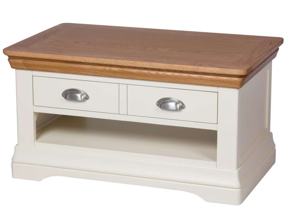 Amazing New Cream And Oak Coffee Tables Inside Farmhouse Cream Painted Oak Coffee Table With Drawers (Image 3 of 40)