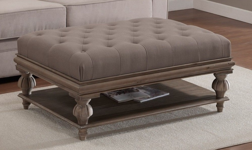 Amazing New Footstool Coffee Tables Pertaining To Good Looking Large Upholstered Footstool Chesterfield Oxford Deep (Image 2 of 40)